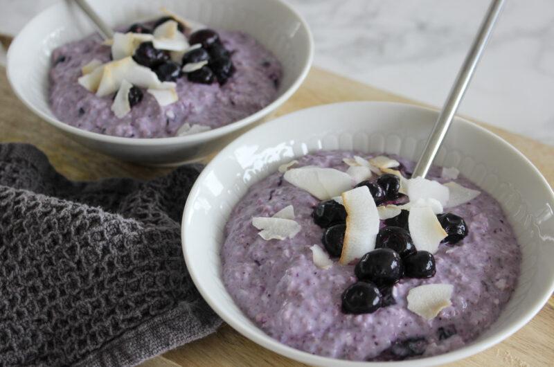 Overnight oats med blåbær